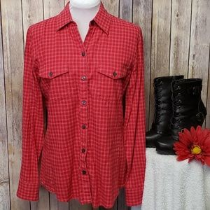 BANANA REPUBLIC Red/white plaid flannel button up